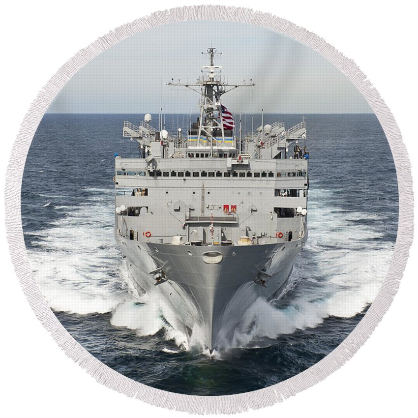 Usns Supply Round Beach Towel featuring the photograph The Military Sealift Command Fast by Stocktrek Images