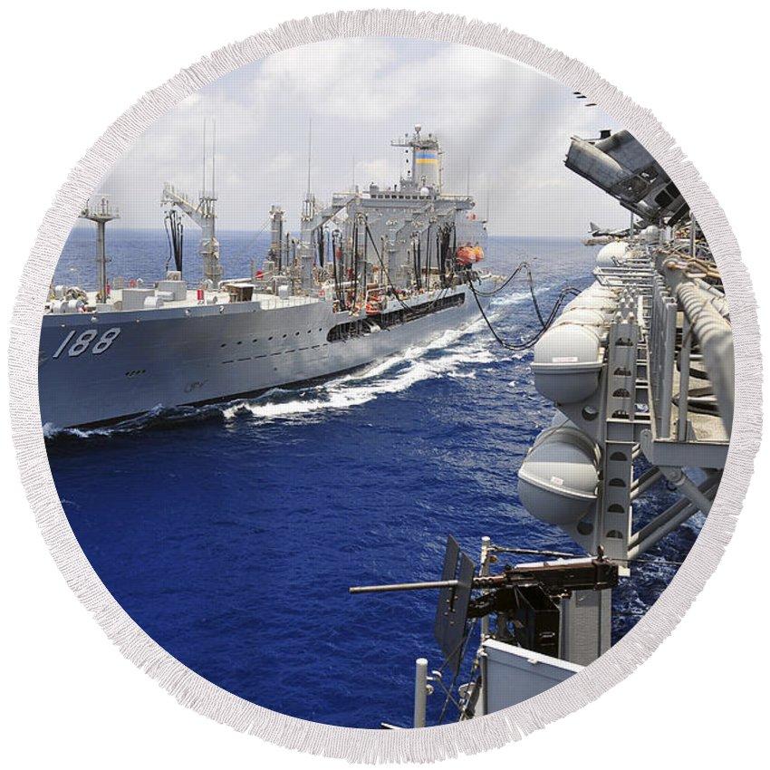 Amphibious Assault Ships Round Beach Towel featuring the photograph The Military Sealift Command Fleet by Stocktrek Images