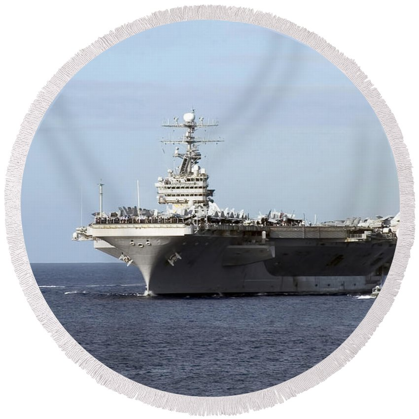 Color Image Round Beach Towel featuring the photograph The Nimitz-class Aircraft Carrier Uss by Stocktrek Images