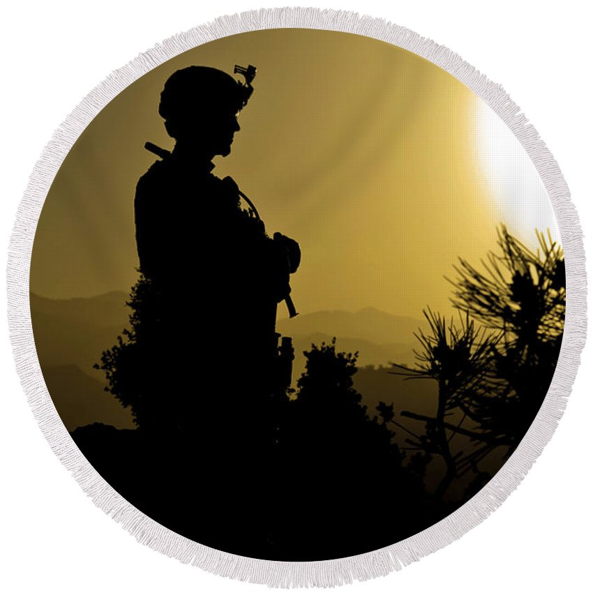 Idyllic Round Beach Towel featuring the photograph U.s. Army Sergeant Provides Security by Stocktrek Images