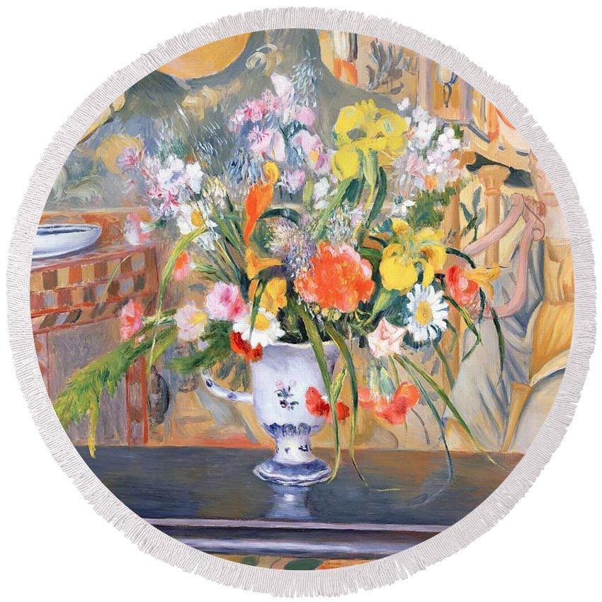 Vase Round Beach Towel featuring the painting Vase Of Flowers by Pierre Auguste Renoir