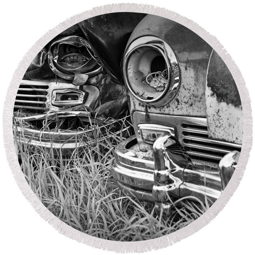 Art Round Beach Towel featuring the photograph Vintage Frazer Auto Wreck Front Ends by Randall Nyhof
