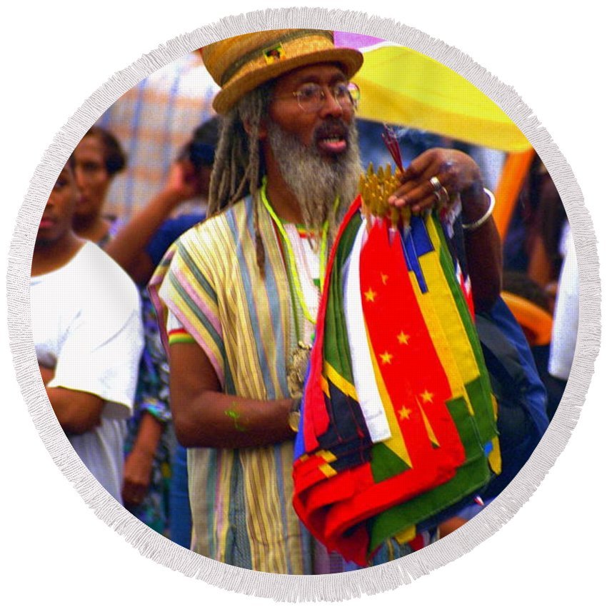 Parades Round Beach Towel featuring the photograph West Indian Day Parade Brooklyn Ny by Mark Gilman