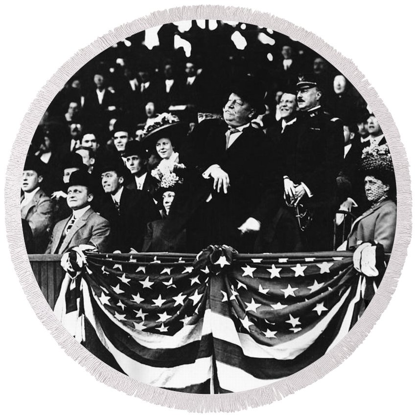 1910 Round Beach Towel featuring the photograph William Howard Taft by Granger