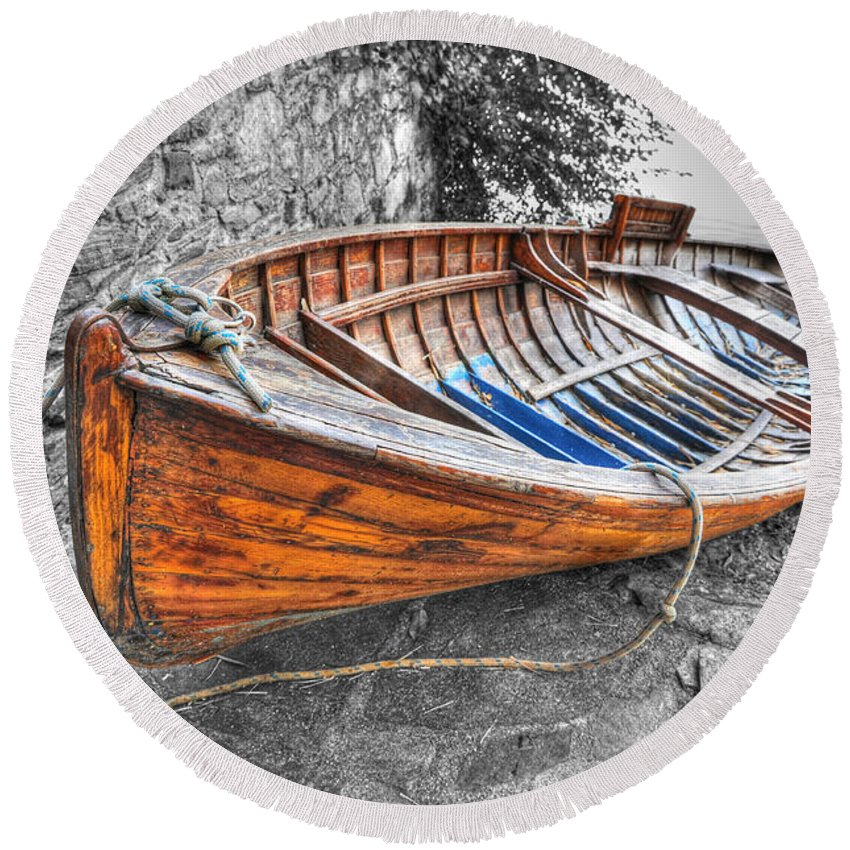 Wood Round Beach Towel featuring the photograph Wood Boat by Mats Silvan