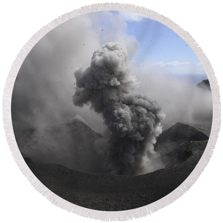 No People Round Beach Towel featuring the photograph Yasur Eruption, Tanna Island, Vanuatu by Martin Rietze