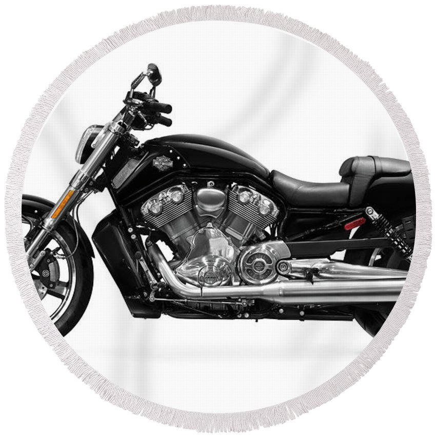 Motorcycle Round Beach Towel featuring the photograph 2010 Harley-davidson Vrsc V-rod Muscle by Maxim Images Prints