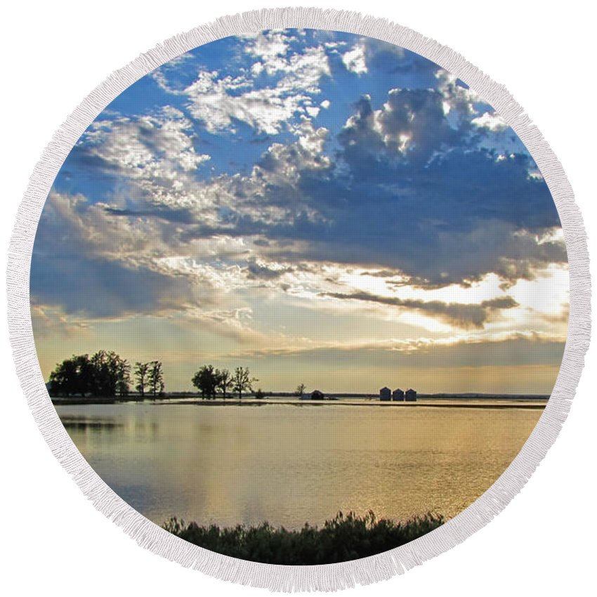 Landscape Round Beach Towel featuring the photograph 2011 Flood II by Debbie Portwood