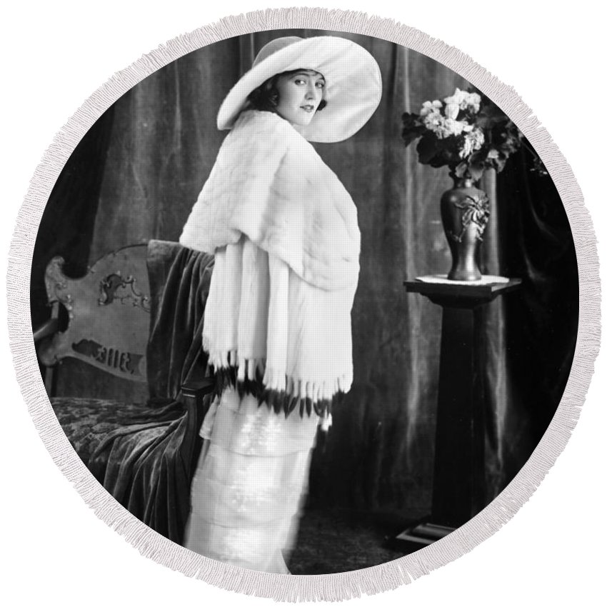 -women Single Figures- Round Beach Towel featuring the photograph Silent Film Still: Woman by Granger