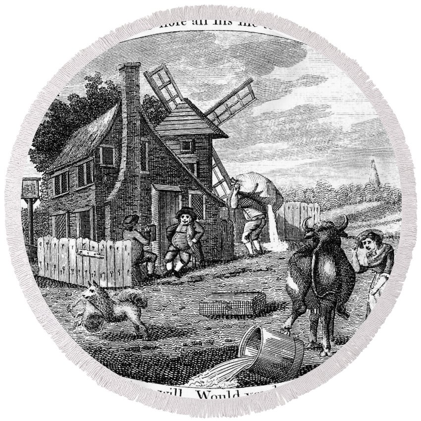 1795 Round Beach Towel featuring the photograph Poor Richard Illustrated by Granger