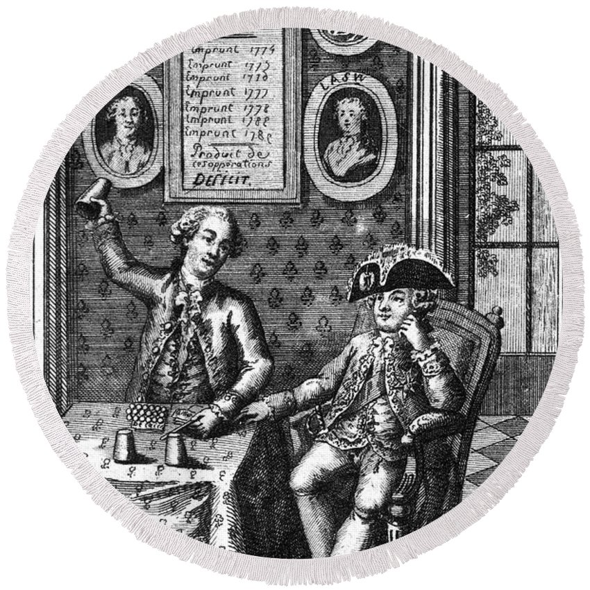 1789 Round Beach Towel featuring the photograph Louis Xvi (1754-1793) by Granger