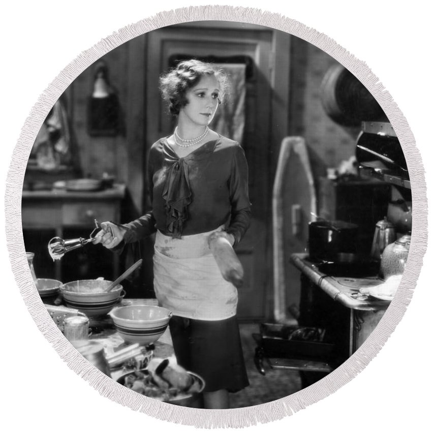 -housework & Cooking- Round Beach Towel featuring the photograph Silent Film Still by Granger