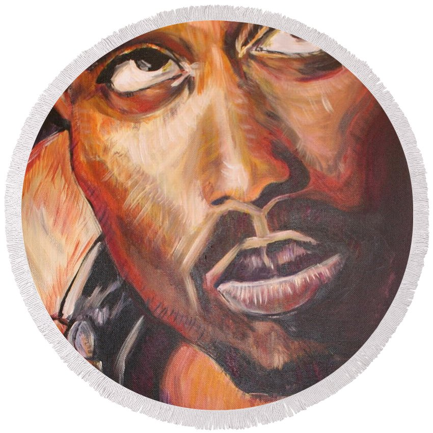 Portrait Round Beach Towel featuring the painting 2pac by Kate Fortin