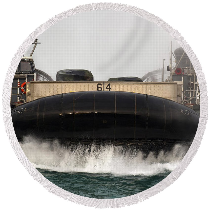 No People Round Beach Towel featuring the photograph A Landing Craft Air Cushion Approaches by Stocktrek Images