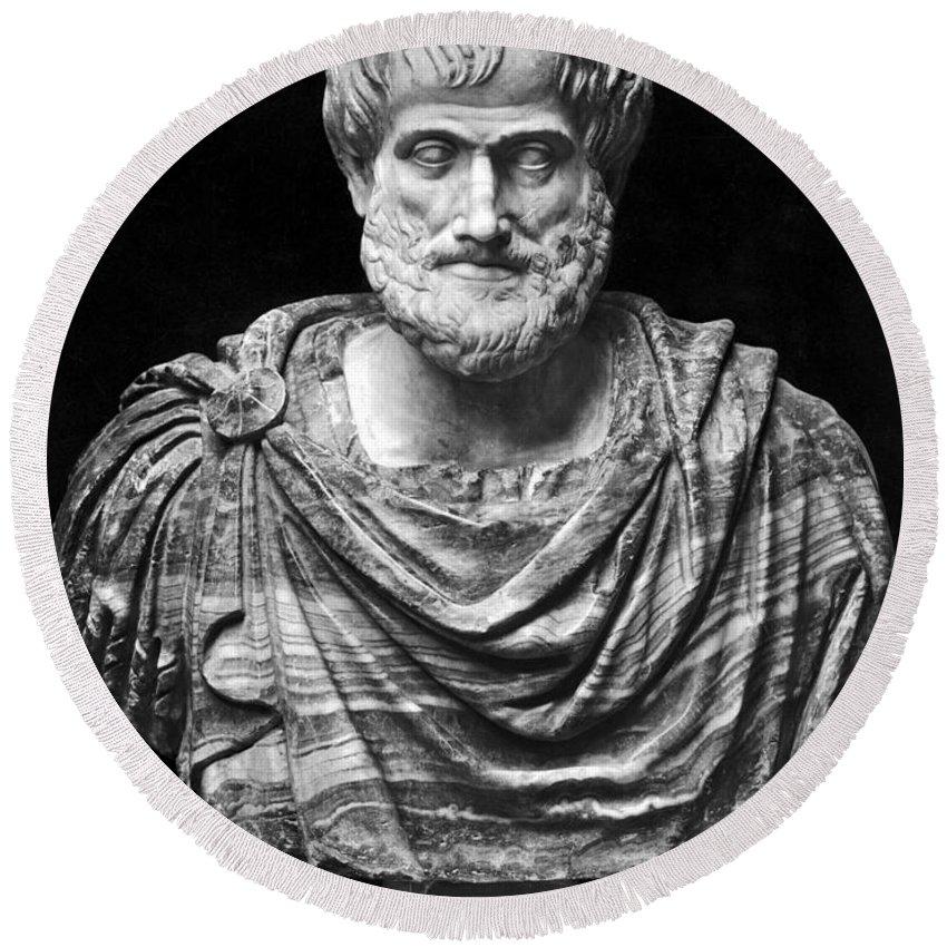 4th Century B.c Round Beach Towel featuring the photograph Aristotle (384-322 B.c.) by Granger