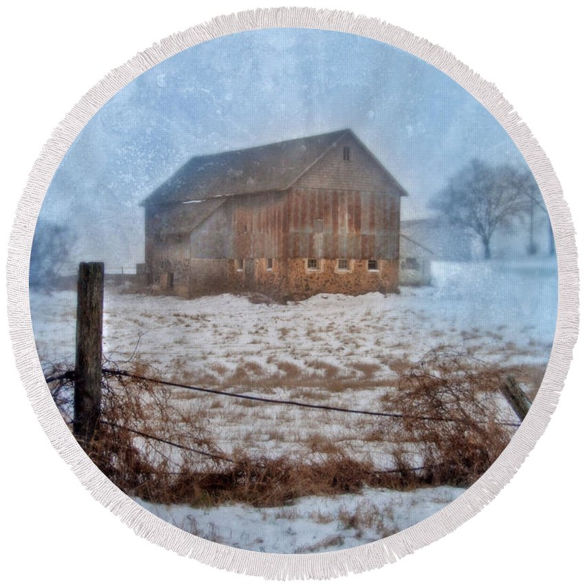 Rural Round Beach Towel featuring the photograph Barn In Winter by Jill Battaglia