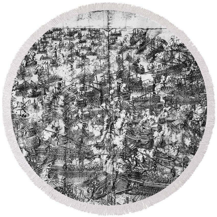 1571 Round Beach Towel featuring the photograph Battle Of Lepanto, 1571 by Granger
