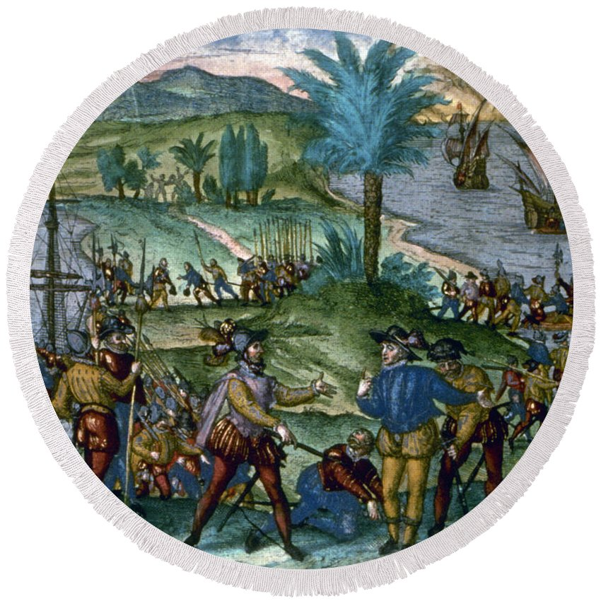 1500 Round Beach Towel featuring the photograph Columbus: Arrest, 1500 by Granger
