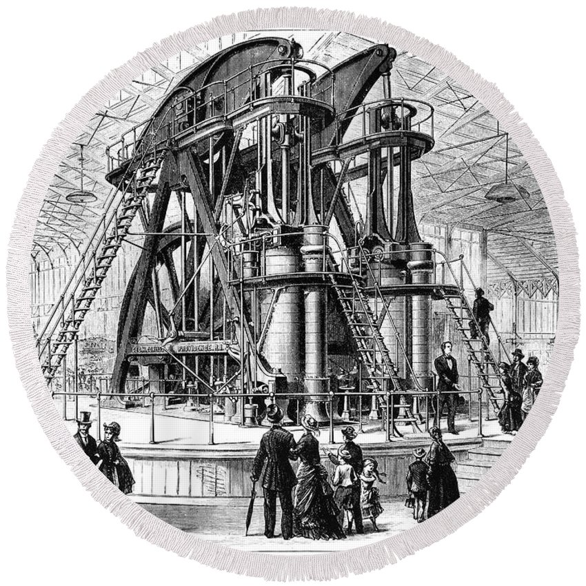 1876 Round Beach Towel featuring the photograph Corliss Steam Engine, 1876 by Granger