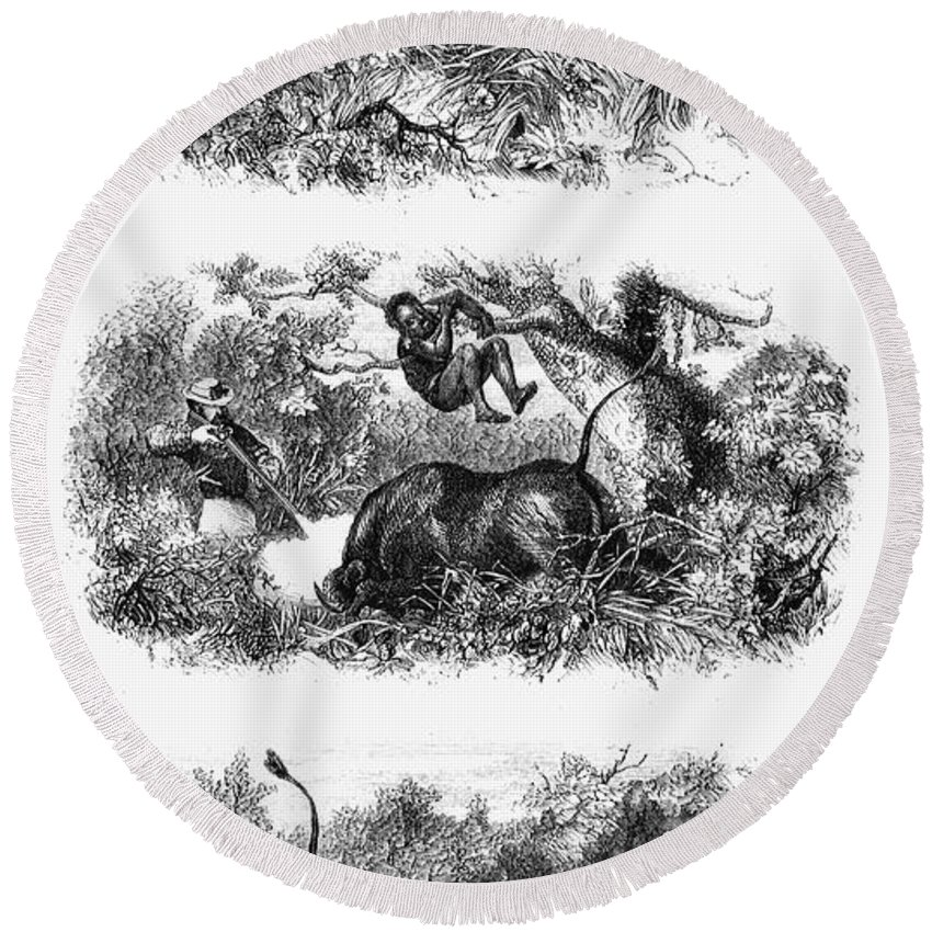 1860 Round Beach Towel featuring the photograph John H. Speke (1827-1864) by Granger