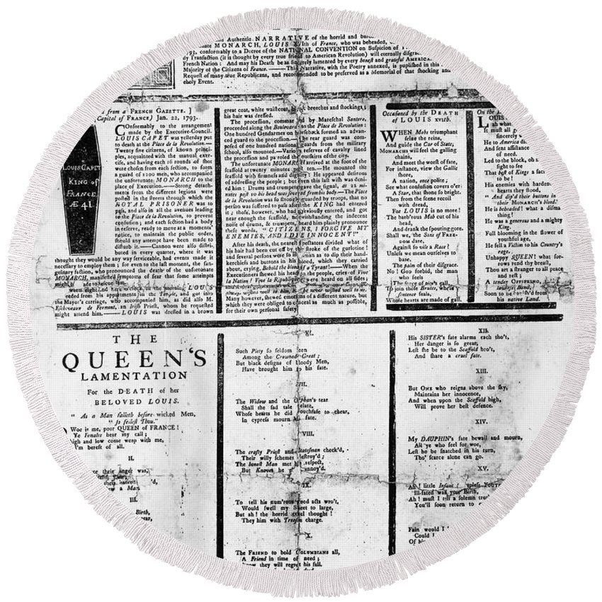 1793 Round Beach Towel featuring the photograph Louis Xvi: Execution, 1793 by Granger
