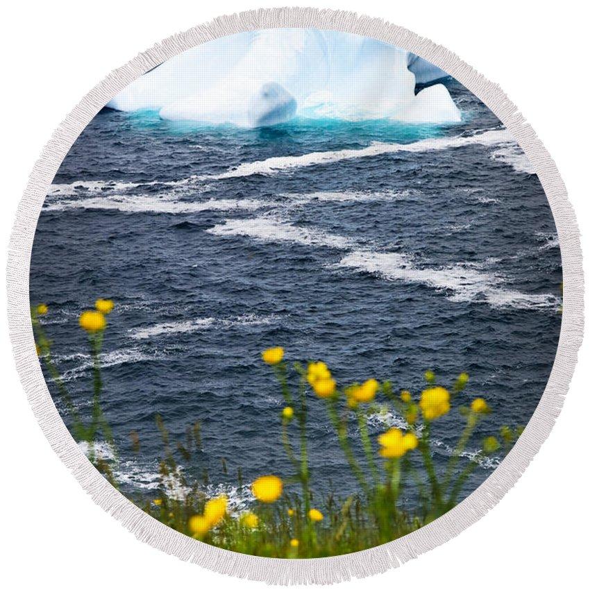 Iceberg Round Beach Towel featuring the photograph Melting Iceberg by Elena Elisseeva