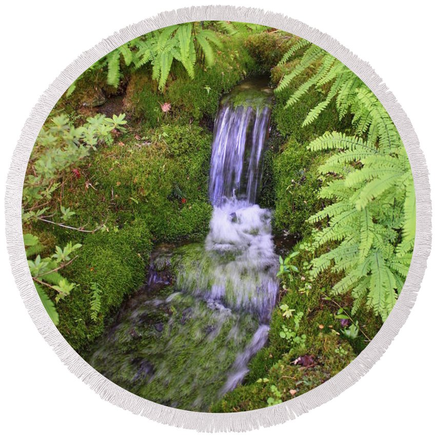 Waterfall Round Beach Towel featuring the photograph Mossy Waterfall by Carol Groenen