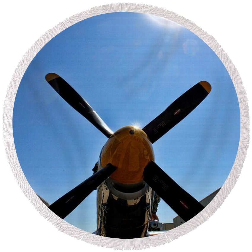 North American P-51d Mustang Round Beach Towel featuring the photograph North American P-51 Mustang by Tommy Anderson