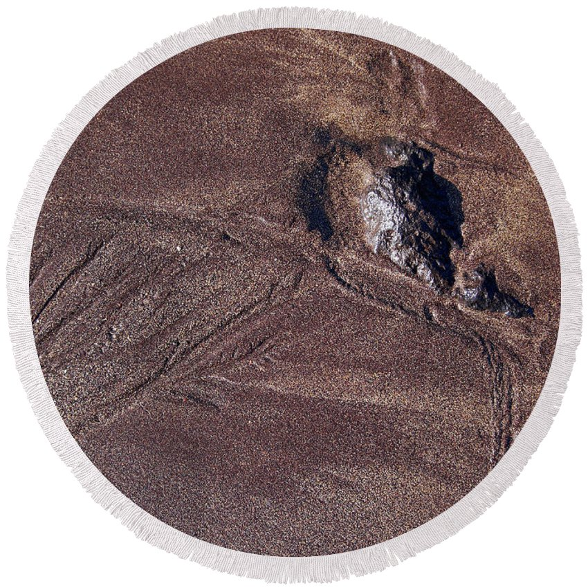Canary Islands Round Beach Towel featuring the photograph Sandmaps by Jouko Lehto