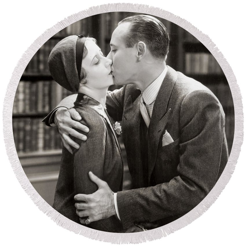 -kissing- Round Beach Towel featuring the photograph Silent Film Still: Kissing by Granger
