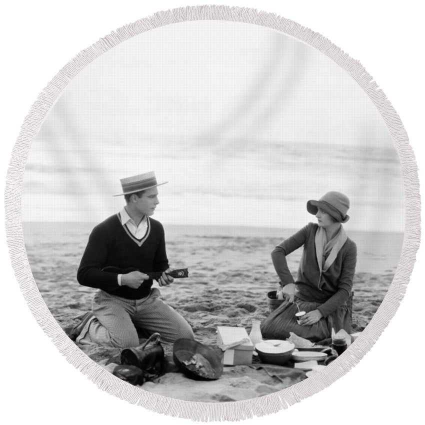 -picnic- Round Beach Towel featuring the photograph Silent Film Still: Picnic by Granger