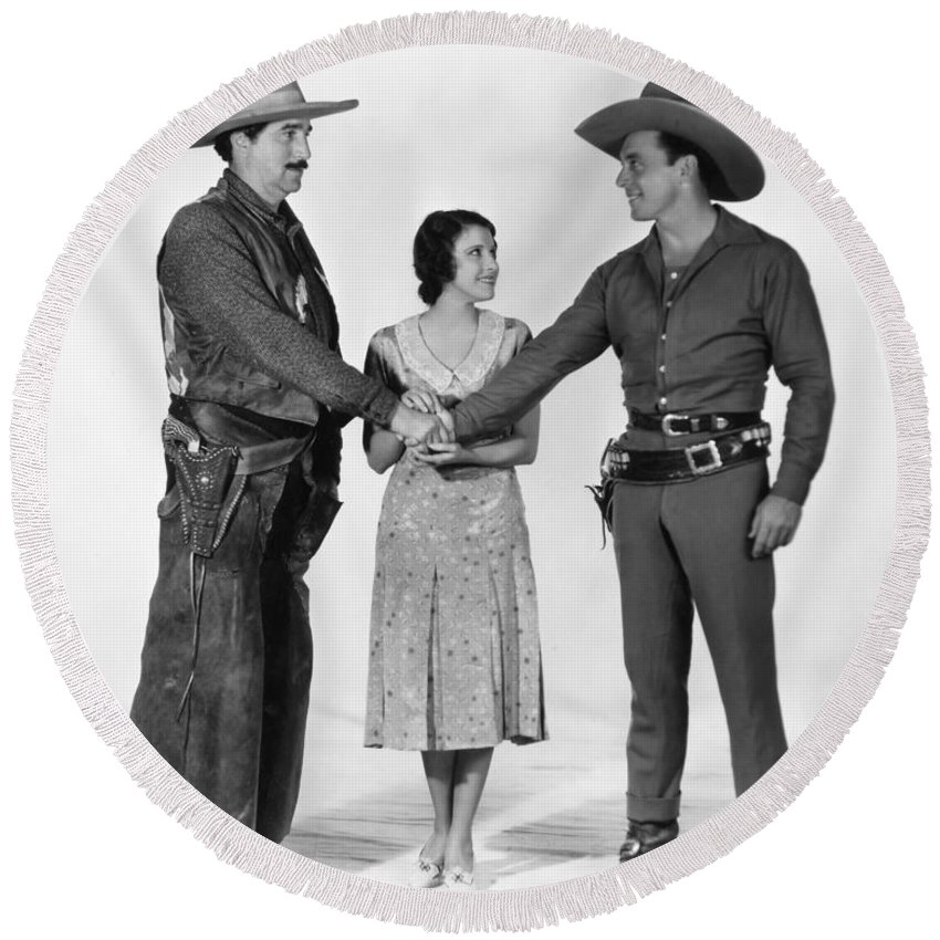 -western- Round Beach Towel featuring the photograph Silent Film Still: Western by Granger