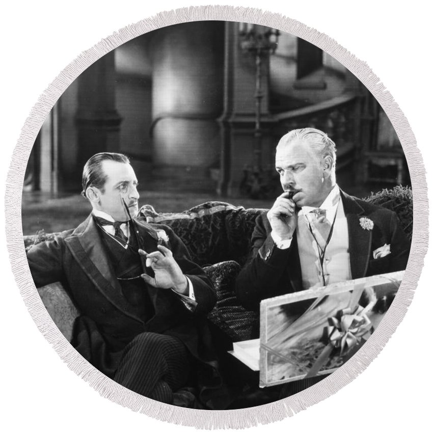 -ecq- Round Beach Towel featuring the photograph Silent Still: Two Men by Granger