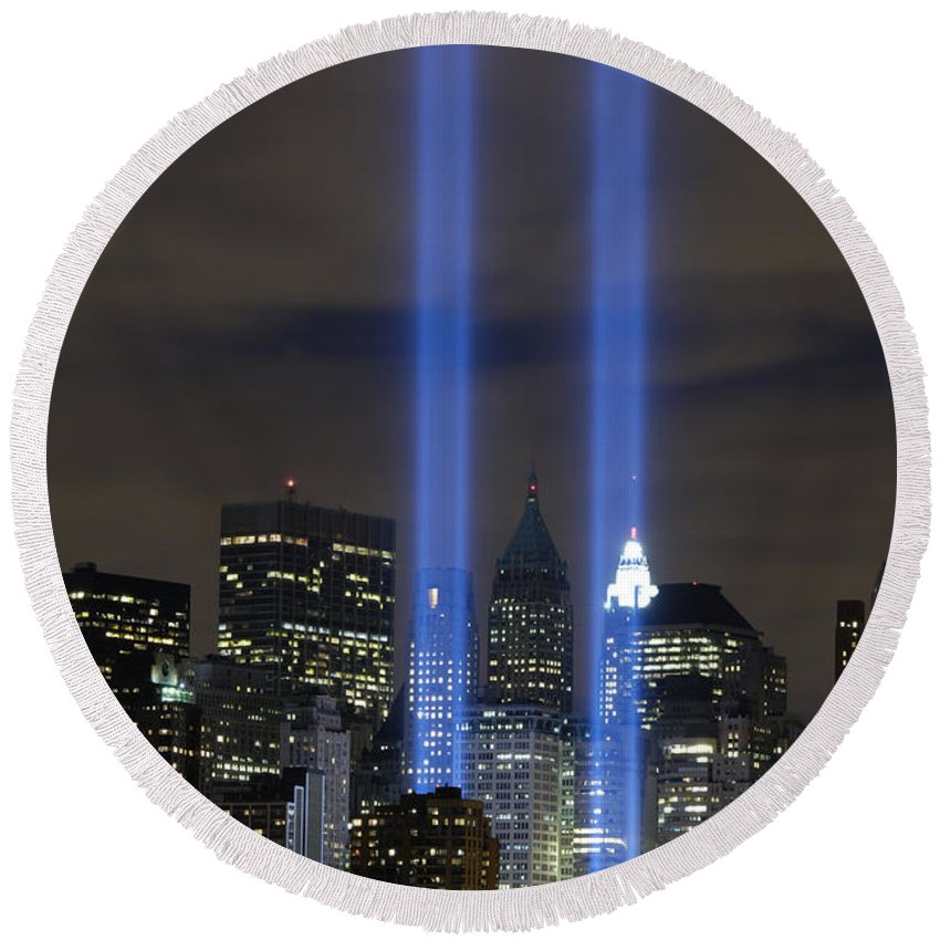 Memorial Round Beach Towel featuring the photograph The Tribute In Light Memorial by Stocktrek Images