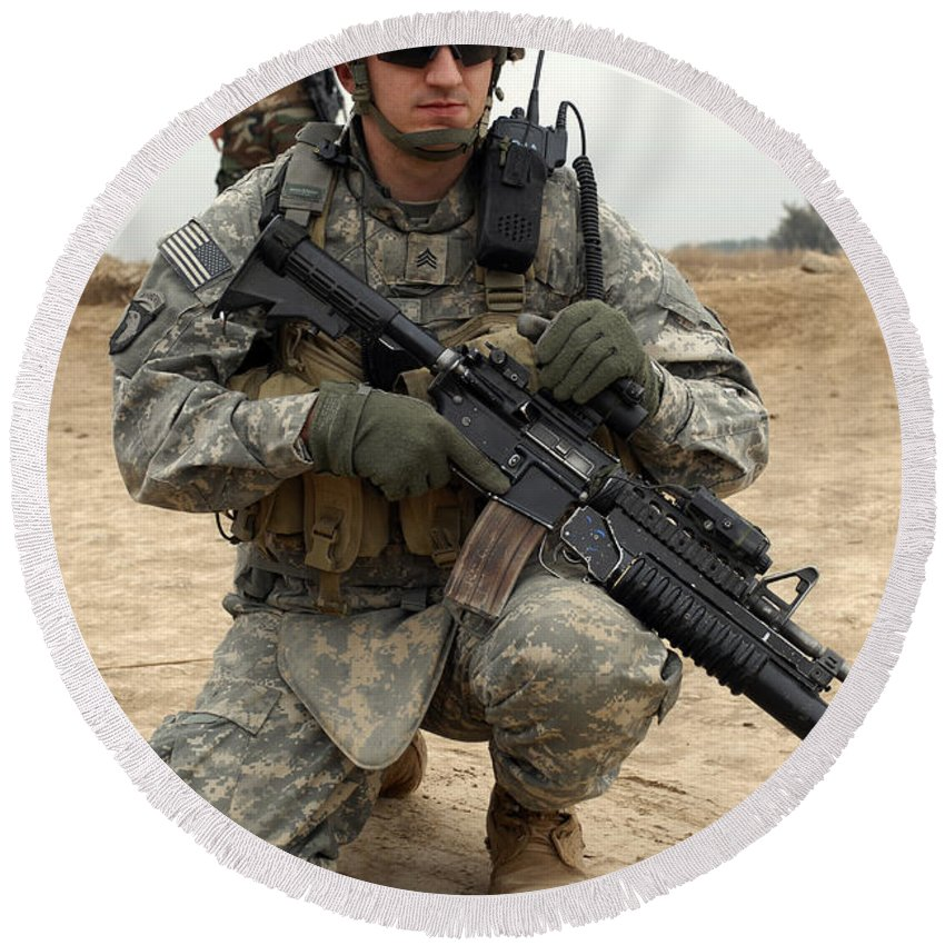 Sergeant Round Beach Towel featuring the photograph U.s. Army Sergeant Provides Security by Stocktrek Images