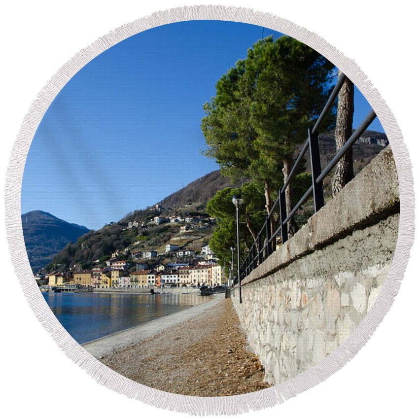 Beach Round Beach Towel featuring the photograph Village On The Lake Front by Mats Silvan