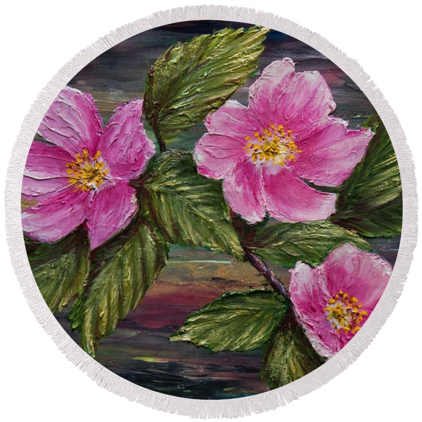 Wild Rose Round Beach Towel featuring the painting 3 Wild Roses by Dee Carpenter