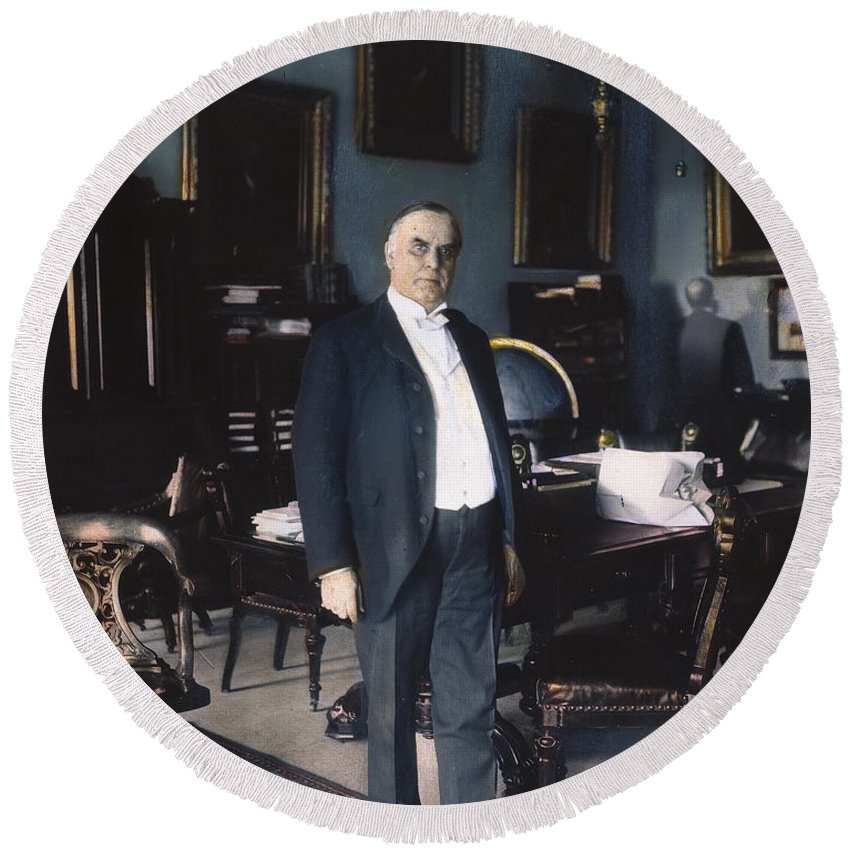 1898 Round Beach Towel featuring the photograph William Mckinley (1843-1901): by Granger