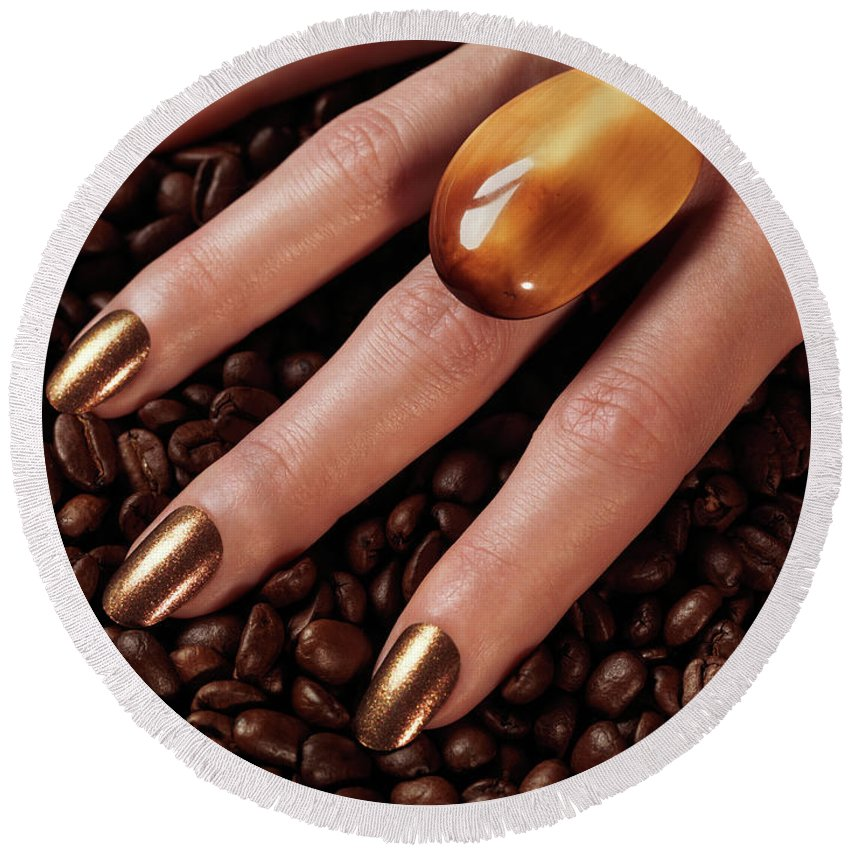 Coffee Round Beach Towel featuring the photograph Woman Hands In Coffee Beans by Oleksiy Maksymenko