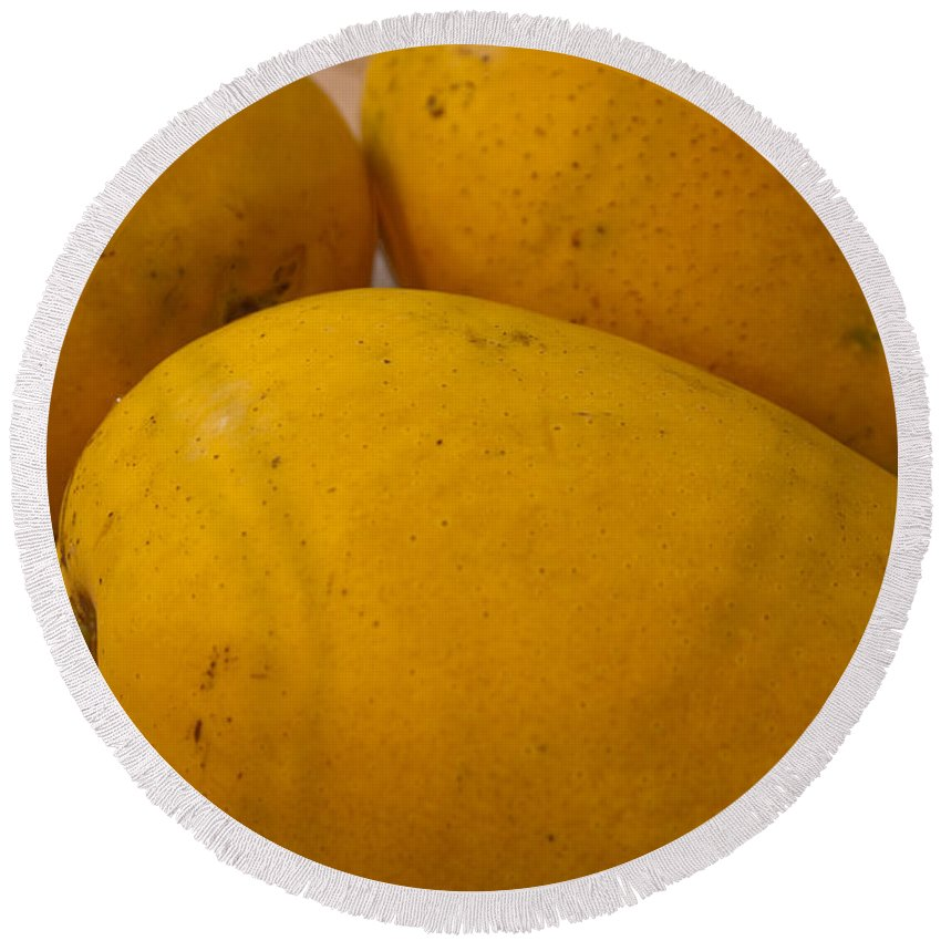 Yellow Round Beach Towel featuring the photograph 3 Yellow And Luscious Mangos On A White Sheet by Ashish Agarwal