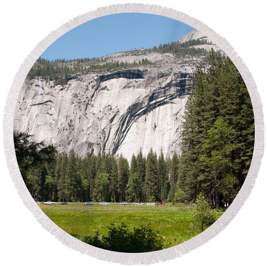 Round Beach Towel featuring the digital art Yosemite by Carol Ailles