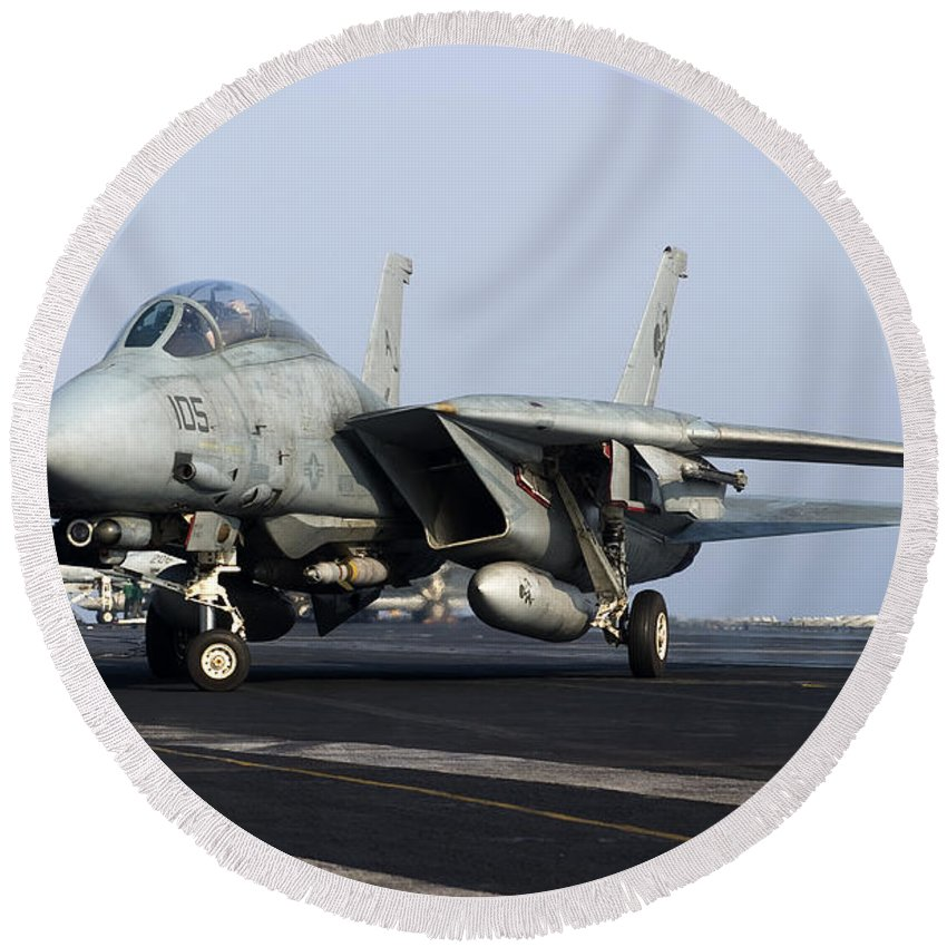 Grumman Round Beach Towel featuring the photograph An F-14d Tomcat On The Flight Deck by Gert Kromhout