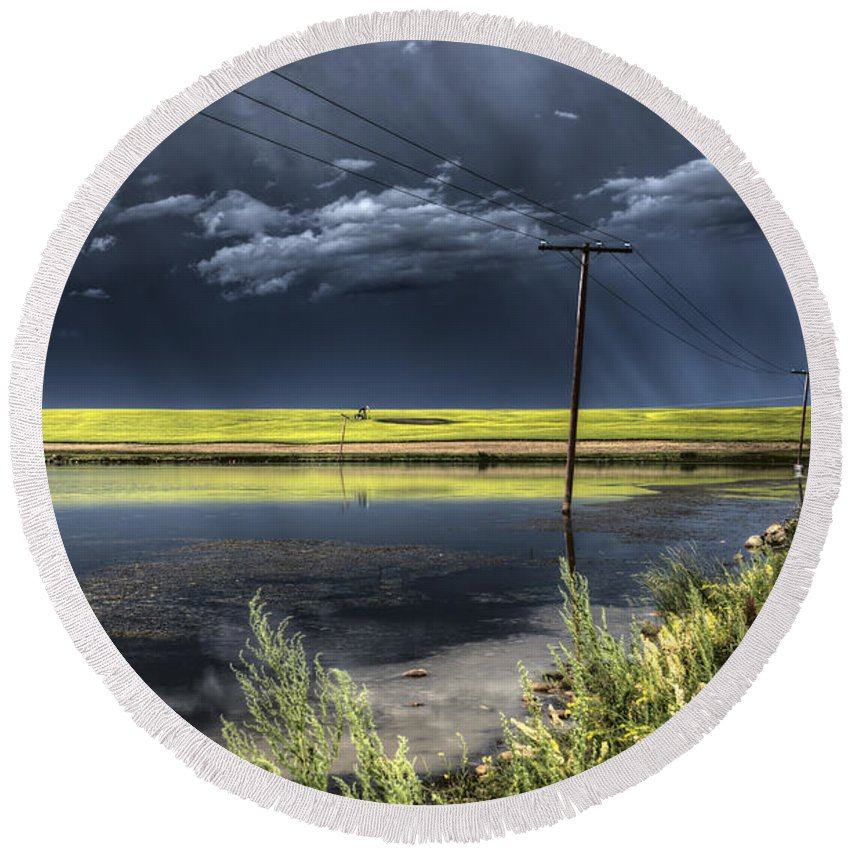 Storm Round Beach Towel featuring the photograph Storm Clouds Saskatchewan by Mark Duffy