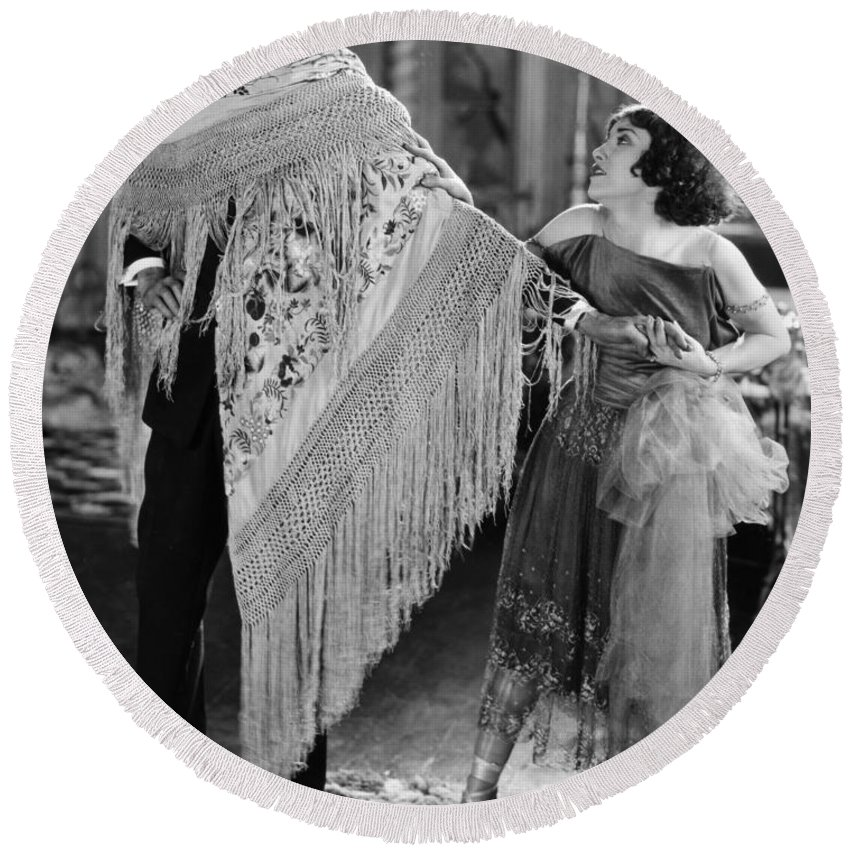 -one Man One Woman- Round Beach Towel featuring the photograph Silent Still: Man & Woman by Granger