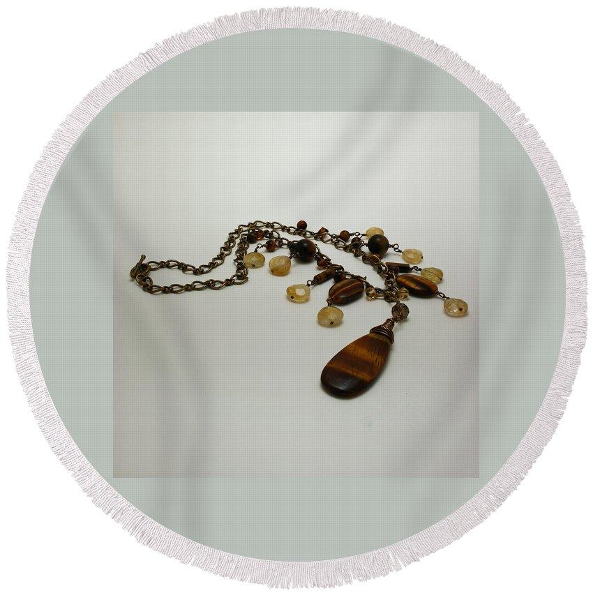 Original Handmade Jewelry Round Beach Towel featuring the jewelry 3618 Tigereye And Citrine Necklace by Teresa Mucha