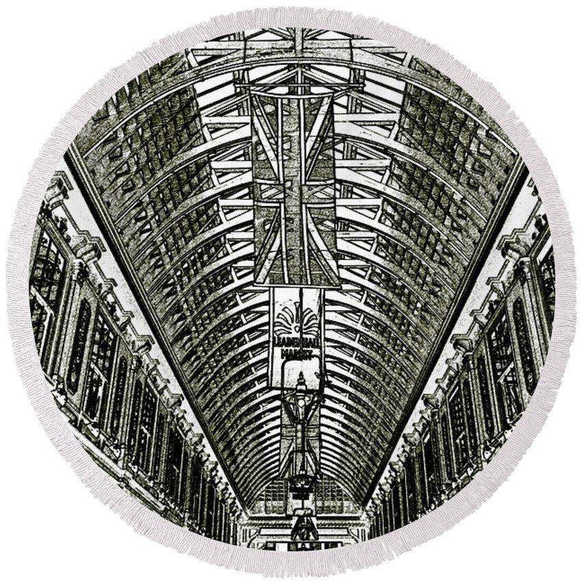 Leadenhall Market Round Beach Towel featuring the digital art Leadenhall Market London by David Pyatt