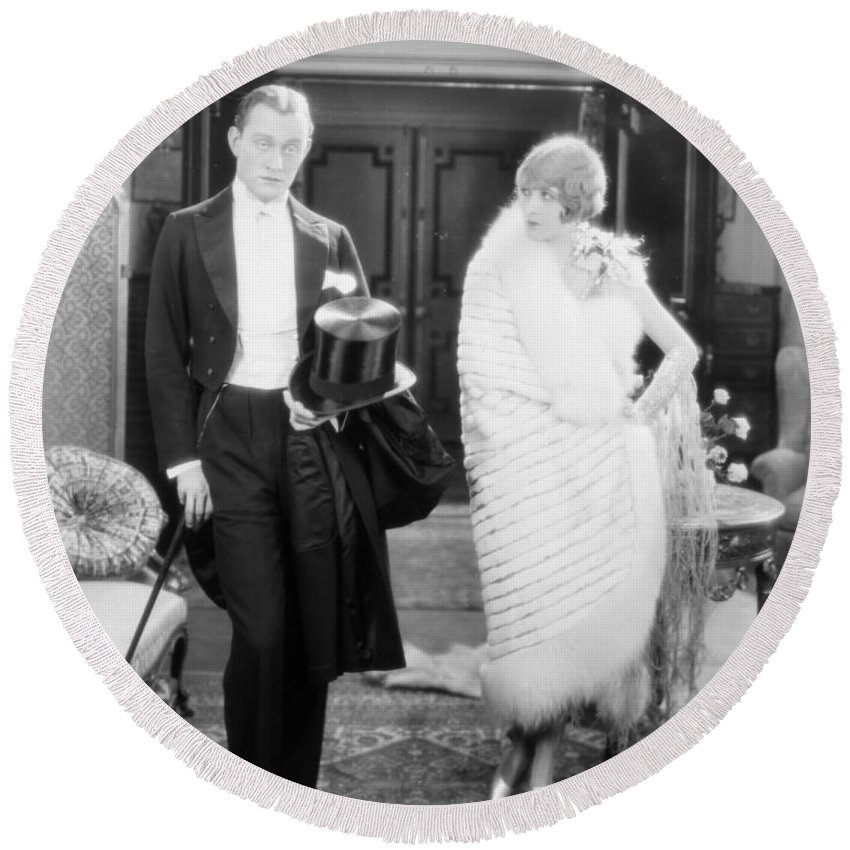 1920s Round Beach Towel featuring the photograph Silent Still: Man & Woman by Granger