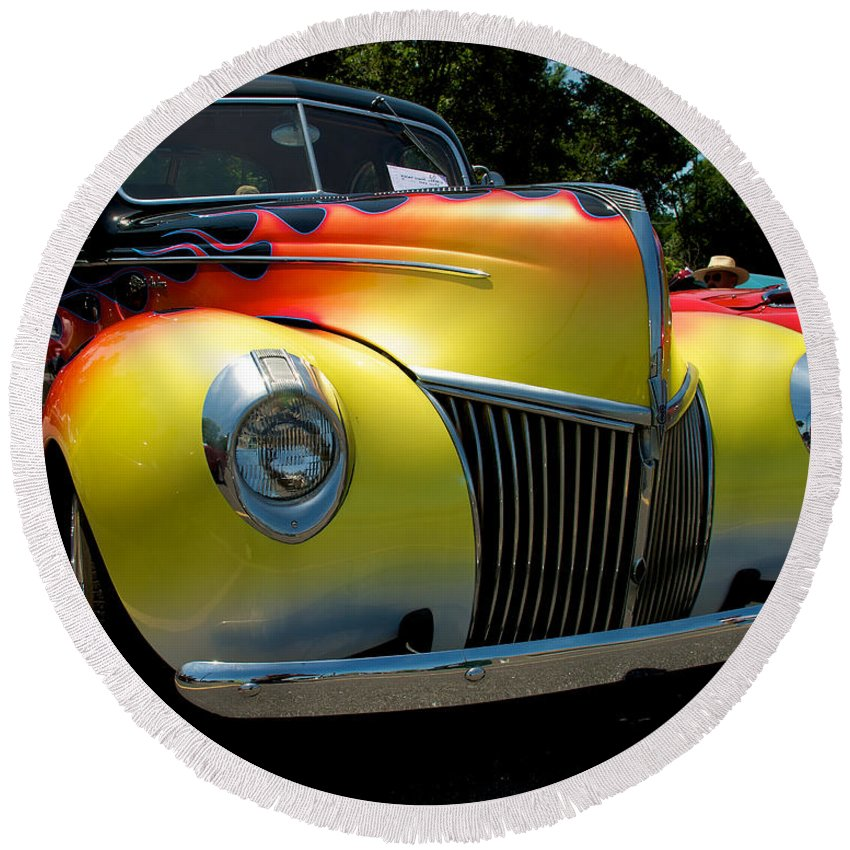 39 Ford Deluxe Round Beach Towel featuring the photograph 39 Ford Deluxe Hot Rod by Mark Dodd