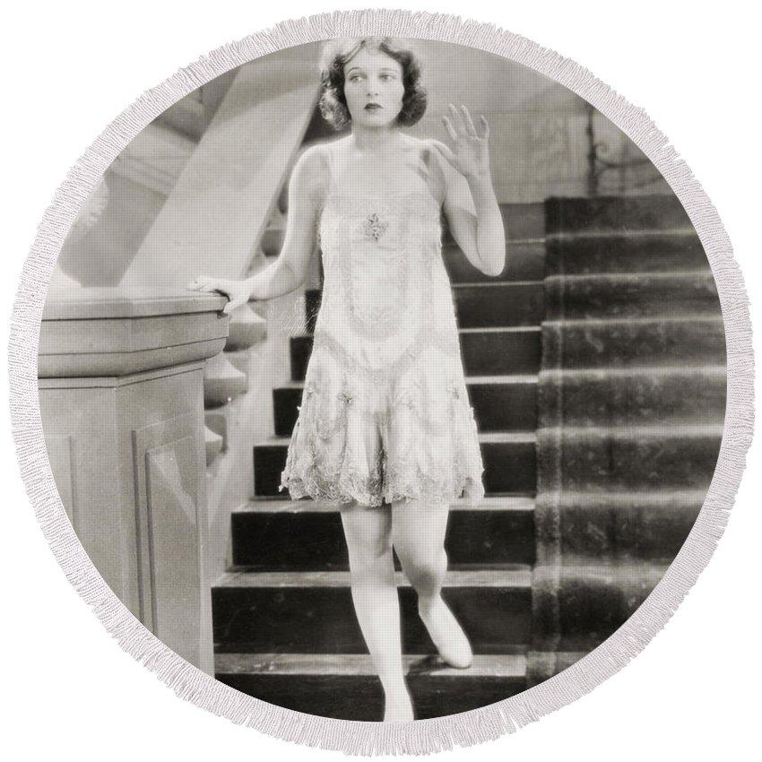 -women Single Figures- Round Beach Towel featuring the photograph Silent Film Still: Woman by Granger