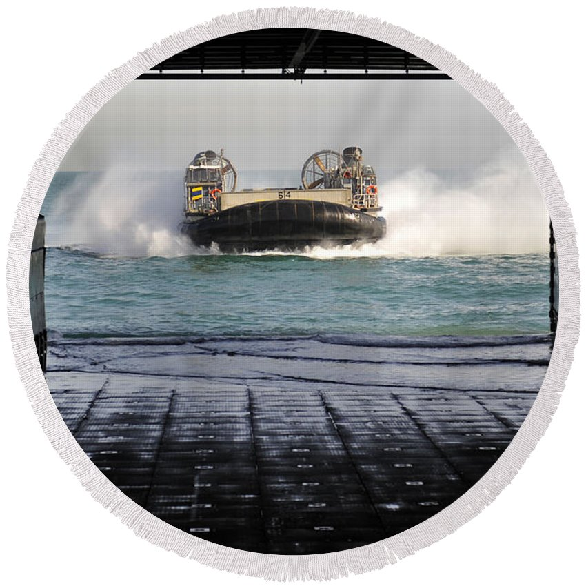 No People Round Beach Towel featuring the photograph A Landing Craft Air Cushion Prepares by Stocktrek Images